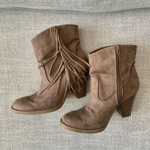 Mossimo Supply Co. | Brown fabric fringe bootie